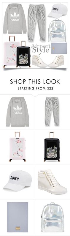 """Airport Style"" by soniaxfall ❤ liked on Polyvore featuring adidas Originals, Aéropostale, Ted Baker, SO, ALDO, Dolce&Gabbana and Accessorize"