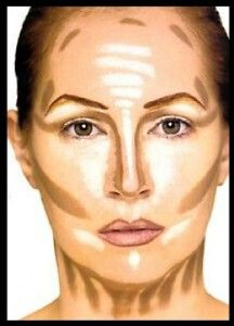 Step 1. Pick a highlight color 3-4 shades lighter than your skin tone. Step 2. Pick a contour color 6 shades darker than your skin tone. Step 3. Apply highlight to yout T zone under eyes chin and brow bone Step 4. Apply contouring color around perimeter or forehead sides of eyes temples under heek bones and nackline Step 5. Get a mid-full coverage foundation (cream or liquid) and apply all over face to blend in  Check out gossmakeupartist on youtube for this same prosses