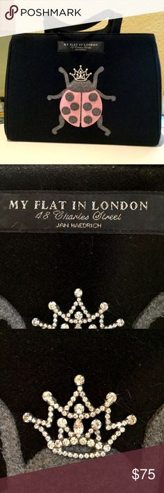 """MY FLAT IN LONDON TOTE So excited to list this fabulous bag!  Black wool with ladybug elegantly crowned.  This is a preowned bag so I do not know it's history but it has been lovingly used.  Only the slightest hints of wear on close examination, nothing noticeable.  Approximate measurements:  width 13.75"""", height 9.75"""", depth 6"""". Brighton Bags Totes"""