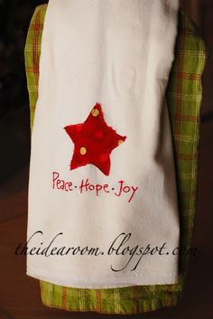 Easy embroidered Christmas towels DIY.