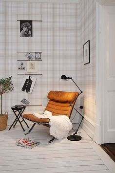 New Cozy Corner Seating Interior Design Ideas Interior Inspiration, Room Inspiration, Plaid Wallpaper, Office Wallpaper, Wall Wallpaper, Corner Seating, Farmhouse Side Table, Home Upgrades, Cozy Corner