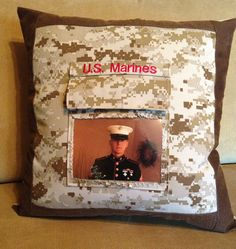 """Military Photo Pocket 18"""" Pillow created by kB Crafting Solutions $27.00 https://www.facebook.com/pages/kB-Crafting-Solutions/215703882740"""
