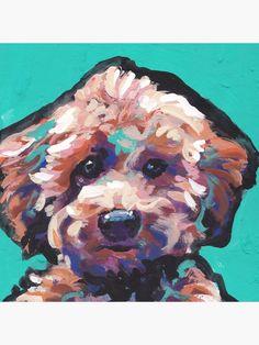 poodle portrait art colorful print of pop art dog painting bright colors Lea