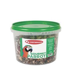 Westerman's Gourmet Parrot Seed Value Tub Includes Giant Sunflower, Macadamia Nuts, Peanuts, Coconut Slices, Parrot Biscuits & Raisins. Giant Sunflower, Coconut Slice, Raisin, Coffee Cans, Parrot, Tub, Seeds, Cute Animals, Canning