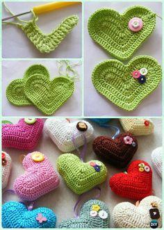 Crochet 3D Heart Free Pattern- Crochet Heart Free Patterns