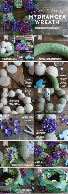 Paper Hydrangea Wreath Tutorial DIY Paper Hydrangea wreath for fall. Tutorial and free pattern @ DIY Paper Hydrangea wreath for fall. Tutorial and free pattern @ Paper Flowers Diy, Handmade Flowers, Felt Flowers, Flower Crafts, Fabric Flowers, Origami Flowers, Craft Flowers, Winter Flowers, Wreath Crafts