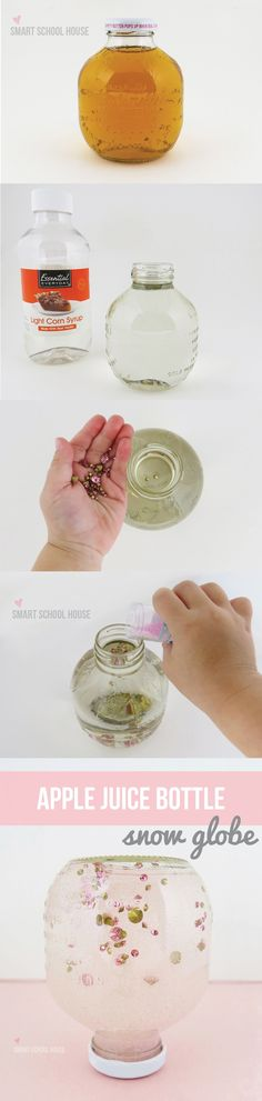 How to make an Apple Juice Bottle Snow Globe. A fun activity for kids to make!