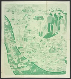 The Beatles' Liverpool Beatles tourism begins in Liverpool, four years after the band split; a surreal Yellow Submarine-era fantasy world is superimposed on real locations Photograph: Private Collection of Tim Bryars. 1974 map: The Beatles' Liverpool Liverpool Museum, Liverpool Map, Beatles Poster, The Beatles, Fantasy World Map, Yellow Submarine, Room Posters, British Library, Antique Maps