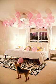 BALLOONS surprise for when they wake up... want to start this tradition!! so fun! Galie get your helium tank ready for Halloween! ;)