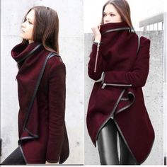 Maroon Over the Shoulder Jacket, new! New with tags! The button closure on the back ! Jackets & Coats Trench Coats