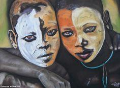 AMAN et KIDUS, l'amitié Pastel sec sur papier abrasif 50 x 60 http://www.artmajeur.com/catherinewernette/