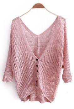 Women Autumn Euro Style Cute Sweet V Neck Knitting Pink Sweater Cardigans One Size@II0165p