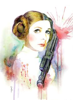 Watercolor Portrait Painting  Star Wars Princess by sookimstudio, $22.00