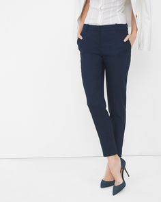 White House | Black Market Linen-Blend Slim Ankle Pants #whbm