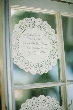 antique glass windows with doilies - seating arrangement idea   #doily