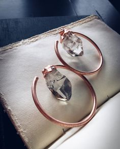 Quartz Ear Weights | Copper Earweights | Crystal Point Ear Jewelry | Hoop Earrings | Plug Tunnel Lobes | Pagan Witch | Minimalist Gothic