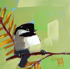 Chickadee no. 275 original bird oil painting by Moulton 6 x 6 inches on panel  prattcreekart