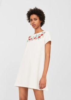 Vestido bordado algodão - Vestidos de Mulher | MANGO Portugal