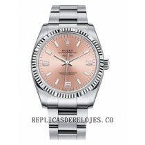 Rolex Air-King Oro blanco Bisel acanalado Salmon esfera redonda de color rosa reloj 114234 PAO