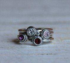 My kids birthstones!!!  Sterling Silver Stackable Birthstone Ring by nelleandlizzy on Etsy, $21.00