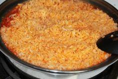 Easy Spanish Rice:  Ingredients:    ■1-1 1/2 c. Long grain rice  ■1/2 small white onion  ■3 tomatoes  ■1/2 tsp. Garlic powder  ■1 tbs. Caldo de pollo  ■1 tbs Canola Oil