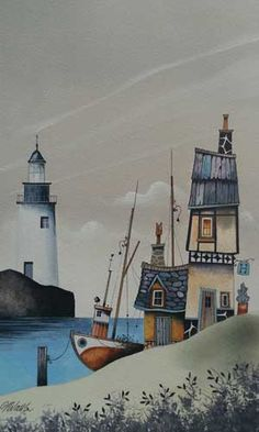 Gary Walton watercolour 'Moored Up'