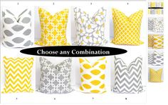 Gray Yellow Pillows inch Decorator Pillow by ElemenOPillows. , via Etsy. Yellow Pillow Covers, Grey Cushion Covers, Yellow Pillows, Modern Pillows, Grey Cushions, Decorative Pillows, Throw Pillows, Couch Pillows, Bedroom Color Schemes