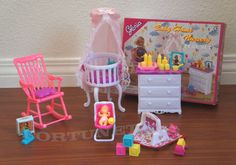 Gloria Doll House Furniture Baby Home Nursery w Canopy Playset for Barbie | eBay