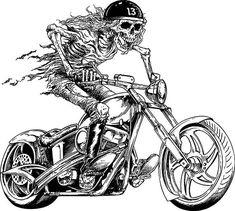 55 best coloring book images 1958 Harley Panhead biker motorcycle chopper skull skeleton harley davidson lowrider clip art