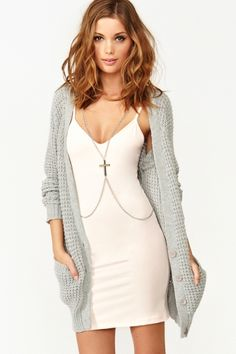 Dresses and long sweaters!