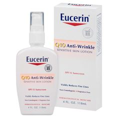 Eucerin Face Lotion for Sensitive Skin Anti Wrinkle Sunscreen SPF 4 Oz Loción Facial, Anti Ride, Face Wrinkles, Sensitive Skin Care, Face Lotion, Moisturizer For Dry Skin, Homemade Moisturizer, Best Face Products, Beauty Products