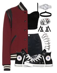 """Over Sized Jacket ✌️"" by galaxygirl12427 ❤ liked on Polyvore featuring Topshop, Yves Saint Laurent, Converse, The Flexx and Mestige"