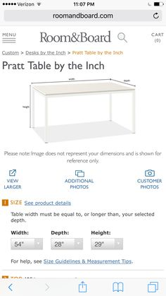Pratt table by the inch