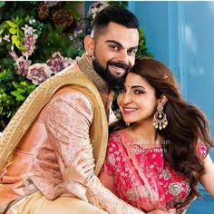 Anushka Sharma looks Phenomenal and Virat Kohli is looking Dapper in their Stunning Wedding wears by Manyavar Mohey. Bollywood Mode, Bollywood Couples, Bollywood Wedding, Bollywood Celebrities, Bollywood Fashion, Punjabi Wedding, Bollywood Stars, Bollywood Actress, Anushka Sharma Virat Kohli