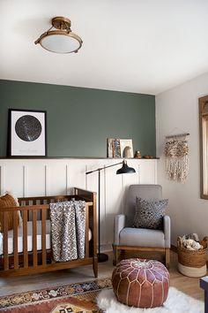 Modern and Vintage Boy's Nursery Reveal with a dark green accent wall #nursery #neutralnursery #boysroom