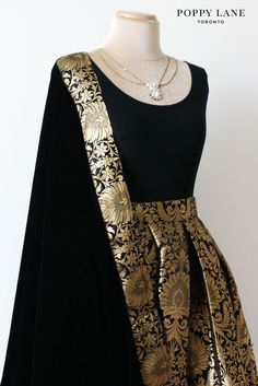 Poppy lane Toronto Simple Black Brocade Skirts with matching velvet dupattas… Indian Attire, Indian Wear, Indian Outfits, Black Indian Gown, Indian Clothes, Indian Style, Indian Gowns Dresses, Lehenga Designs, Indian Designer Outfits