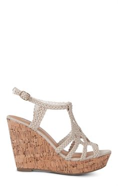dad4dc4b9dc342 Deb Shops Platform  Wedge with Cork Heel and Braided Upper Straps  36.90  Strappy Sandals Heels