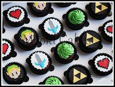 Mario Birthday Cake, Zelda Birthday, Fondant Cupcake Toppers, Cupcake Cakes, Zelda Cake, Big Cookie, Fondant Decorations, Specialty Cakes, Novelty Cakes