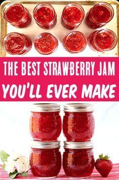 Homemade Strawberry Jam, Homemade Jelly, Homemade Jam Recipes, Best Strawberry Preserves Recipe, Strawberry Jelly Recipe Canning, Healthy Strawberry Jam Recipe, Easy Jam Recipes, Strawberry Jam With Pectin, Making Strawberry Jam
