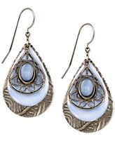Silver Forest Brass-Tone Blue Cabochon Layered Teardrop Earrings