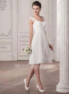 [US$ 116.99] Corte A/Princesa Escote corazón Hasta la rodilla Chifón Vestido de novia con Volantes (002058810)