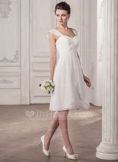 [US$ 116.99] A-Line/Princess Sweetheart Knee-Length Chiffon Wedding Dress With Ruffle (002058810)