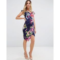 Jessica Wright Floral Pencil Dress With Step Hem (£47) ❤ liked on Polyvore featuring dresses, navy, v neck dress, bodycon pencil dress, floral dresses, floral print dress and navy blue floral dress
