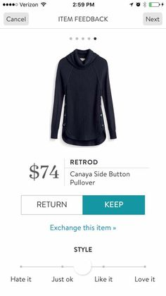 Retrod Canaya Side Button Pullover