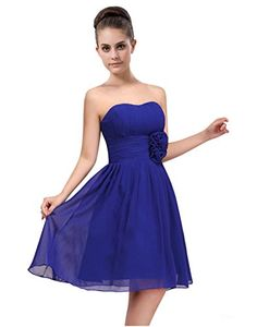 LOVEBEAUTY Womens ALine Knee Length Strapless Pleated Chiffon Bridesmaid Dresses Royal Blue US 2 ** Read more  at the image link.