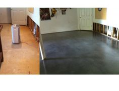 Stained Concrete overlay applied to basement floor;  30% Charcoal Gray in the overlay followed by two coats of Titanium Gray Eco-Stain. Sealed with a semi-gloss sealer and wax.