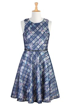 Floral Print Organza Dresses, Woven Check Dresses Womens Full sleeve Dresses - Cocktail Dresses, Plus Size Cocktail Dresses, Elegant Dresses   eShakti