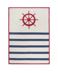 Wheel Tea Towel in Lava. Hand silk-screened.  Design by thomaspaul.