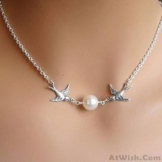 Wow~ Awesome Couple Birds Pearl Necklace! It only $7.99 at www.AtWish.com! I…