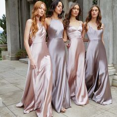 Silk Bridesmaid Dresses, Satin Dresses, Wedding Bridesmaids, Wedding Gowns, Wedding Guest Long Dresses, Different Bridesmaid Dresses, Blush Weddings, Wedding Guest Style, Prom Dresses